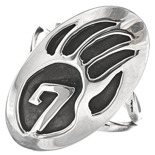 Navajo Bear - Navajo Bear Paw Ladies Sterling Ring Southwest Overlaid Design