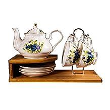 9-piece Coffee Cup Porcelain Tea Set Tea Time Scented tea Blue Rose