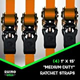 RHINO USA Ratchet Tie Down Straps (4PK) - 1,823lb