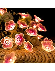 Jcfyoo Flower String Lights, Cherry Blossom Lights 10FT 30 LED Battery Operated Fairy String Lights for Bedroom Party Desk Wedding Christmas Decorations