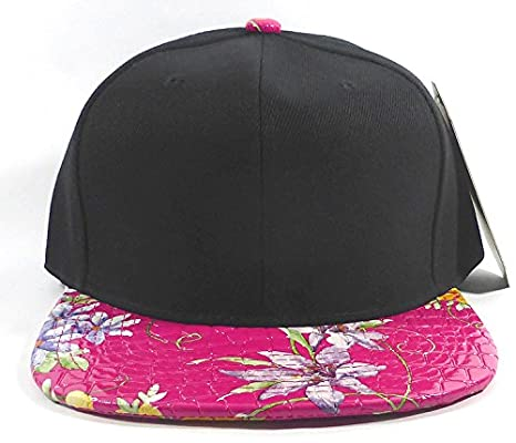 91f95b7a9 Black & Pink Floral Faux Alligator Skin Snapback at Amazon Men's Clothing  store: