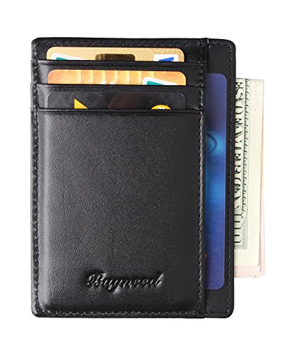Mens RFID Blocking Slim Front Pocket Wallet Thin Leather Credit Card Holder(Black)