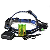 6000LM Zoomable CREE XM-L T6 LED Focus Headlight Head Lamp + 2x 18650 + Charger