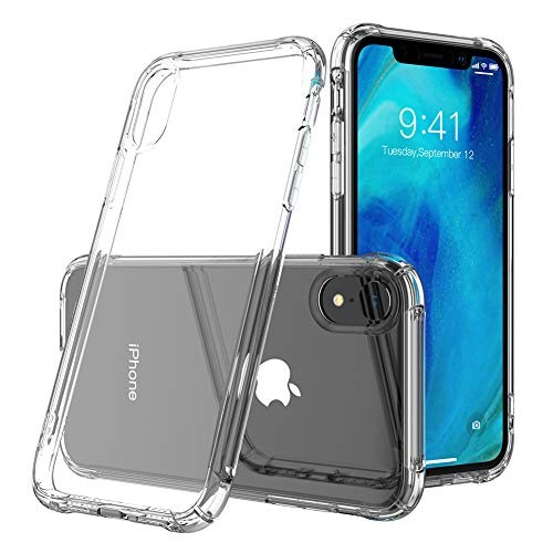 ERQU Clear iPhone XR Case, [Released in 2018] Reinforced Corners Anti-Scratch Shock Absorption Cover Case for iPhone XR 6.1 Inch (Crystal Clear)