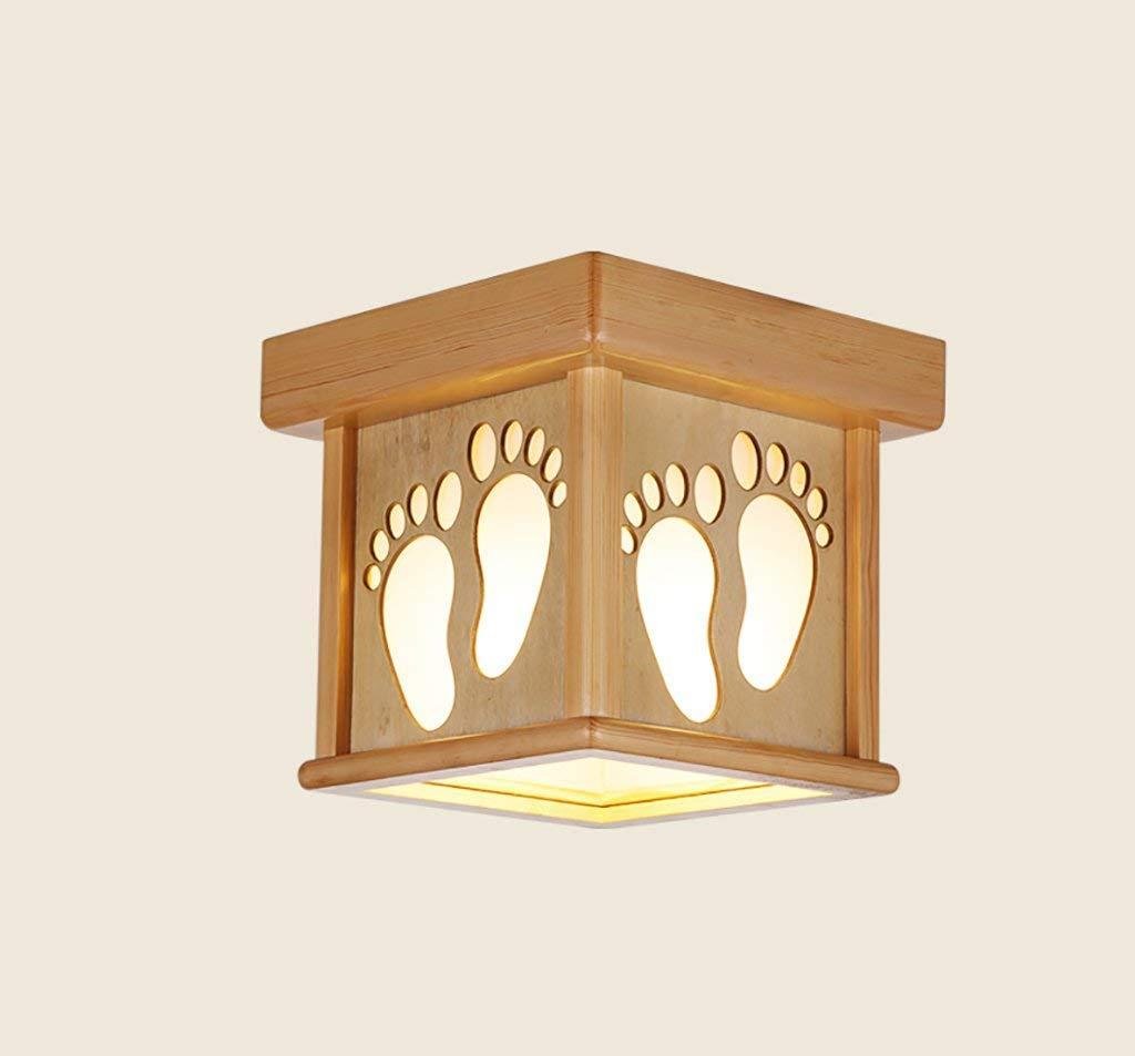 Eeayyygch Deckenleuchte Massivholz Log Farbe Korridor Balkon Por Lampe E27 Holzlampe (Größe  25 cm) Deckenleuchte (Farbe   -, Größe   -)