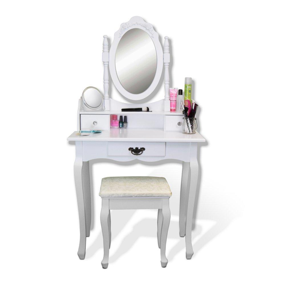 AVC Designs Elegant White Dressing Table, Oval Mirror & Stool Set (3 Drawer) Bedroom Dresser Makeup Desk Vanity Table