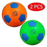 Macro Giant 7.5 Inch (diameter) Soft Foam Training Practice Soccer Ball, Set of 2, Neon Green & Neon Orange, Kid Sports Toys,Kickball,Kid Toy Gift,Playground ball,Physical Education Exercise
