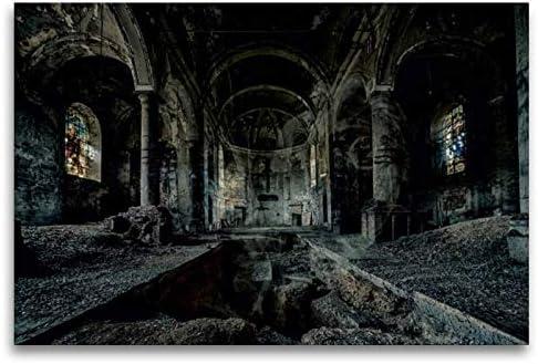 Premium Tessile Della Tela 45Cm X 30Cm Croce Un Motiv Aus Dem Calendario Misterioso Orte–Lost Places, 120 X 80 Cm