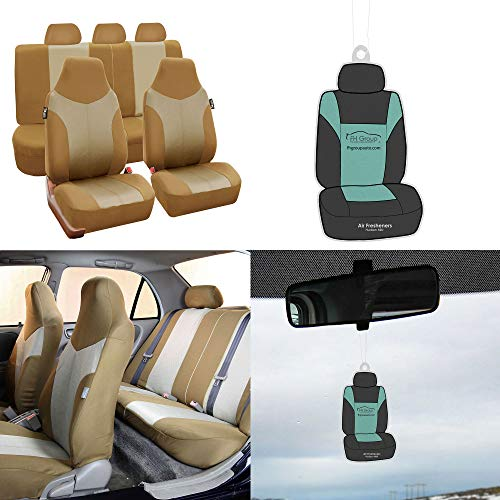 (FH Group FB101115 Supreme Twill Fabric High-back Full Set Car Seat Covers, Airbag and Split Ready w. Free Air Freshener, Beige Color- Fit Most Car, Truck, Suv, or Van)