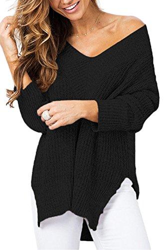 Black Ribbed V-neck Sweater - ALBIZIA Women's Off Shoulder V-Neck Long Sleeve Knit Pullover Sweater XL Black