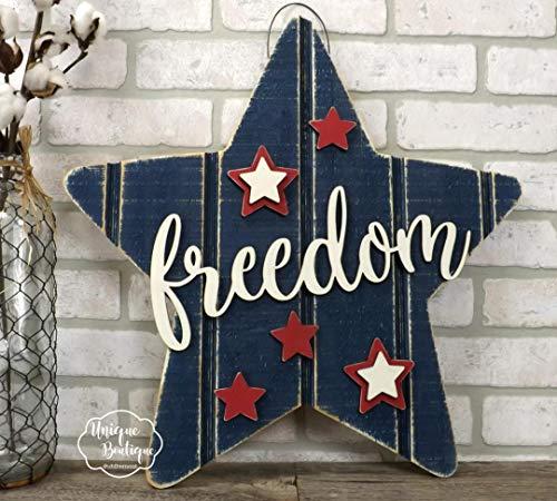 DASON 4th of July Door Hanger Freedom Star Hanging Sign Red White Blue Patriotic Americana Summer Door Sign Rustic Shiplap Wall Door Sign Decor