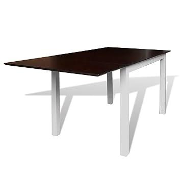 Extensible En D'hévéa Moderne De Cuisine Marron Table Bois Festnight 0wO8XNPZnk