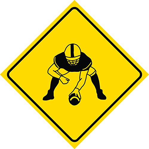 Aluminum Yellow Diamond Caution Football Player Crossing Signs Commercial Metal Square Sign - Single Sign, 12x12
