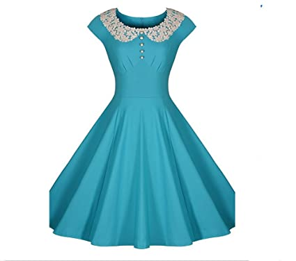 Ouxiuli Womens Vintage 1940s Lace Swing Formal Party Skaters Gown Dresses S Light Blue