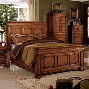 cambridge traditional style tobacco oak finish eastern king size bed frame set. Black Bedroom Furniture Sets. Home Design Ideas