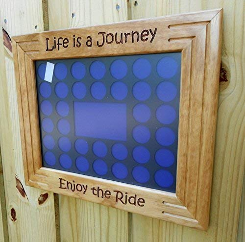 Custom-made Poker Chip Display Frame, engraved pine frame, 11 by 14, fits Harley and Casino chips, Life is a Journey, Enjoy the Ride