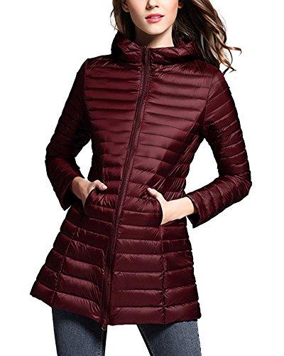 ZhuiKun Women's Down Coat Lightweight Packable Long Hooded Puffer Jackets Outwear Winered