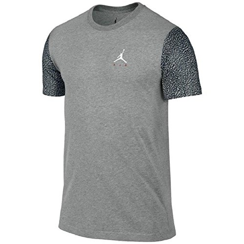 Boys Air Jordan Elephant Sleeve T-Shirt (M (10-12 Years), Heather Gray/Black) (Air Elephant Jordan)