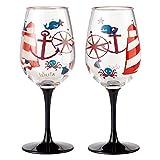 Enesco Designs by Lolita Maritime Acrylic Wine Glasses, Set of 2, 16 oz. For Sale