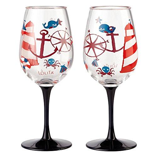 Enesco Designs by Lolita Maritime Acrylic Wine Glasses, Set of 2, 16 oz.