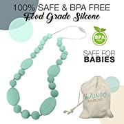 Teething Necklace For Moms To Wear and Baby To Chew, Chewbeads Chewlery Teether and Instant Pacifier for Teething Infants. Made From BPA Free Safe Silicon By JUNGO BAMBINO. (Magnificent Mint)