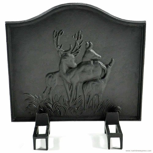 Cast Iron Fireback - Deer 20'' H x 17'' W by Northfifteen