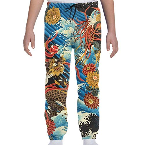 Eastern Chinese Style Dragon Phoenix Sea Wave Boys Girls Casual Sport Jogger Pants 3D Print Sweatpants Trousers Baggy with Drawstring White