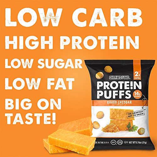 Shrewd Food Keto Protein Puffs, Low Carb, High Protein, Healthy Cheese Puff, 14g per Pack, 2g Carbs, Gluten Free Snacks, Real Cheese, Soy Free, Peanut Free, Baked Cheddar, 8 Pack 5