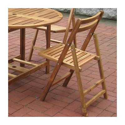 Folding Acacia Outdoor Dining Chairs–Set of 4 For Sale