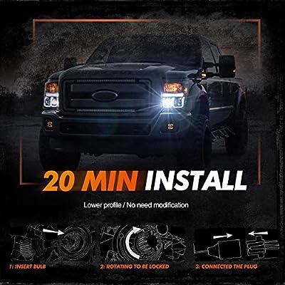 SEALIGHT Xenower X1 9004/HB1 LED Headlight Bulbs, 24 CSP LED Chips, 6000K Bright White, 150% Brightness: Automotive