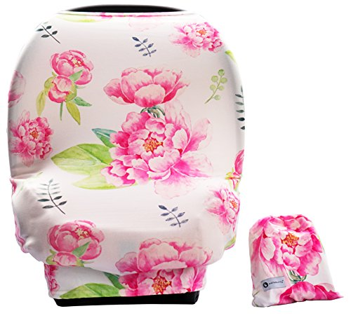 (Baby Car Seat Cover Canopy-Multi-Use Stretchy Cover-Shopping Cart, Nursing Breastfeeding Cover, Infinity Scarf- Newborn Registry Baby Shower Gift (Pink Peony))