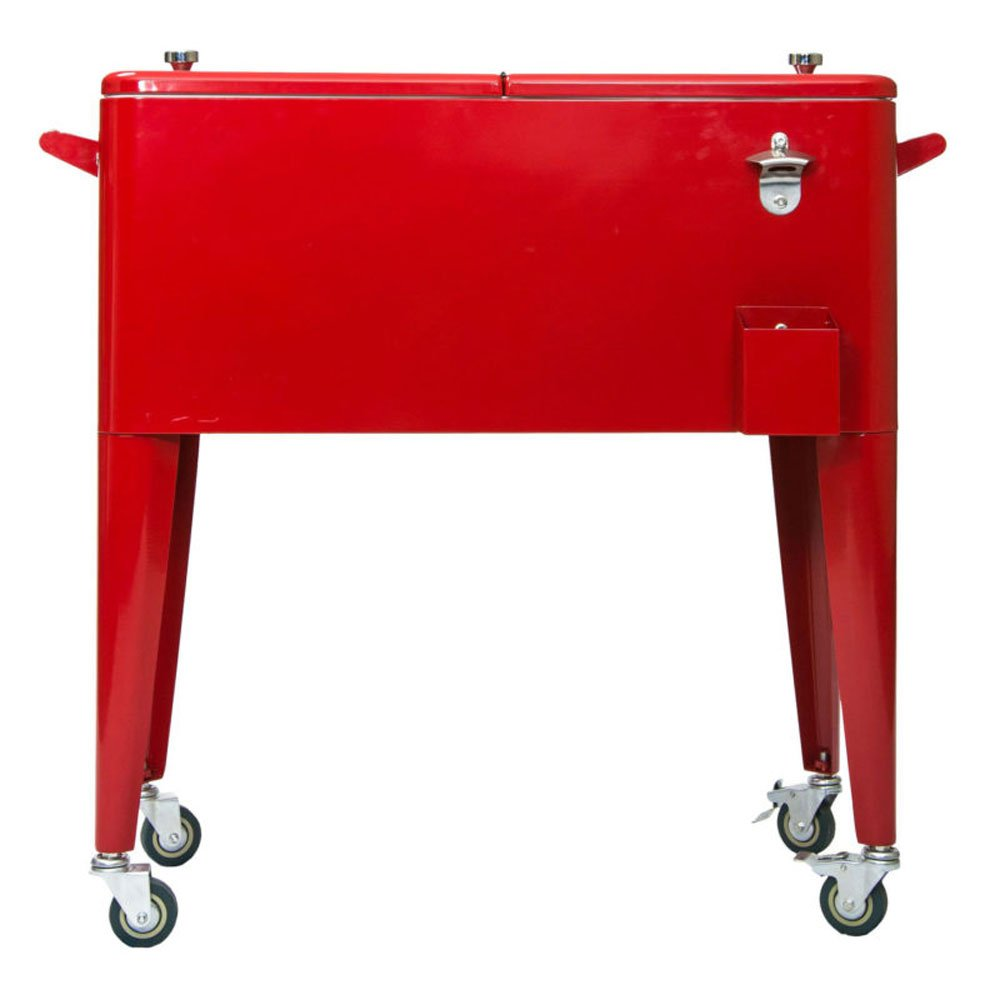Permasteel PS-203-RED-2 Patio Cooler with Insulated Basin, 80-Quart, Red