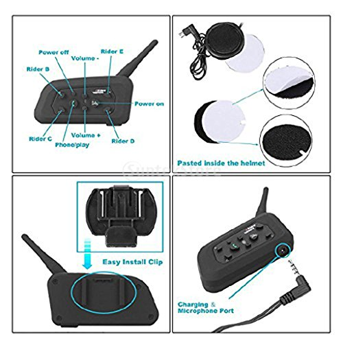 MagiDeal 2 Pieces Motorcycle Communication Systems,VNETPHONE V6 Intercom Bluetooth Headset Speaker Dual Intercom Full Clip Speaker Headphone 6 Riders 1200m Talk for Skiing Hiking Scooter by MagiDeal (Image #3)