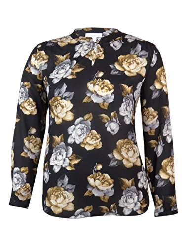 Charter Club Plus Size Long Sleeve Sheer Floral-print Blouse Top Black 3x