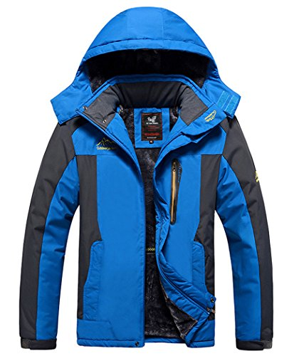 Vcansion Men's Outdoor Waterproof Mountain Jacket Fleece Windproof Ski Jacket Blue/S
