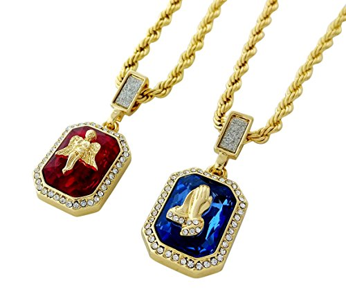 Angel Ruby Necklace - Double Chain Layered Necklace with Ruby Angel & Sapphire Praying Hands Pendants in 18k Gold Finish (Gold)
