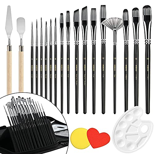 HIBOO All New Art Paint Brush Set-21 Different Sizes Professionals Oil-Sealing Technique Paint Brushes Includes Pop-up Carrying Case with 16 Paint Brushes , 1 Paint Tray, 2 Palette Knife and 2 Sponges