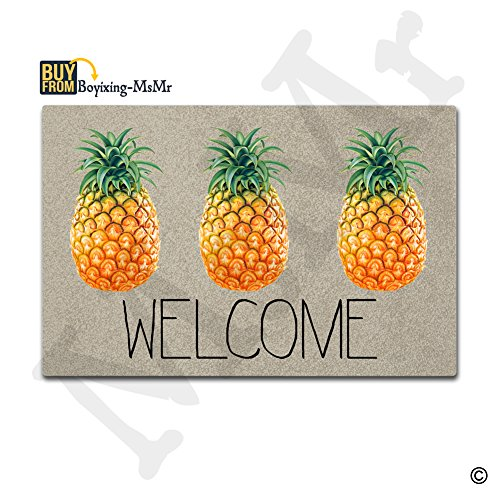 Pineapple Mat - MsMr Doormat Entrance Floor Mat Welcome Pineapple Indoor Outdoor Decorative Door Mat Entry Way Mat Machine Washable Non-woven Fabric Top 23.5