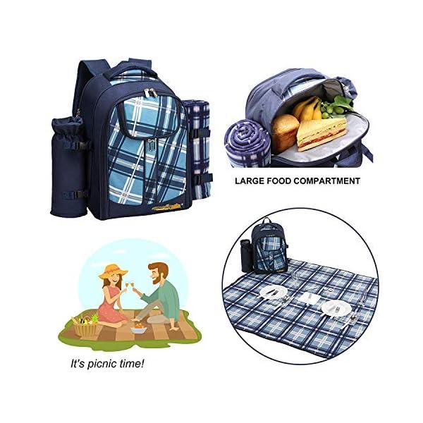 51lBNJ2SGYL apollo walker Picknickrucksack für 4 Personen mit Fleece-Decke und Kühlfach (Blau)