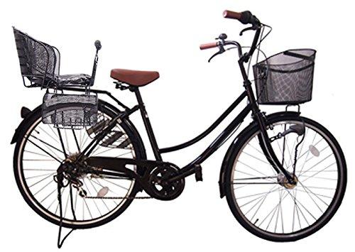 Lupinusルピナス 自転車 26インチ LP-266UA-KNR-B 軽快車 シマノ外装6段ギア オートライト 後子乗せブラック B073LSZHSK ブラック ブラック