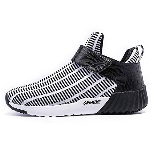 ONEMIX Femme ete running Compétition Air Chaussures Homme Basses de Sport course Baskets Black White Trail rxrUqa