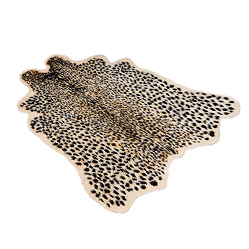 Artificial Carpet, 40x37inch, Yezijin Simulation Cowhide, Leopard, Tiger, Zebra, Cow Hide Mat Rug Animal Print Hide Faux Carpet (A) (Leopard Rug)