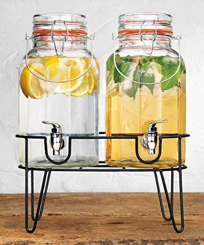 Elegant Home Two (2) 1 Gallon Each Quality Ice Cold Clear Glass Jug Beverage Dispensers Hermetic Seal Metal Display