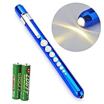Escolite Nurse Penlight LED Medical Penlight Flashlight with Pupil Guage Reusable for Stethoscope Doctors Nurses Warm White Free Batteries