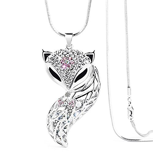 DuoTang Crystal Necklace Women Sweater Chain Silver Fox Pendant ()