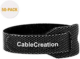 Cable Ties,CableCreation 50PCS Reusable Hook and Loop Cord Ties Quickly Fastening Organizer Cord, Nylon Adjustable Cable...