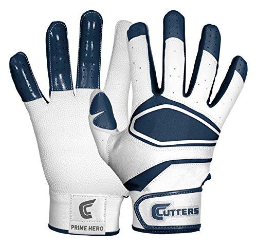 Cutters Gloves Men's Prime Hero Baseball Batting Glove, White/Navy, (Cutter Baseball Batting Gloves)