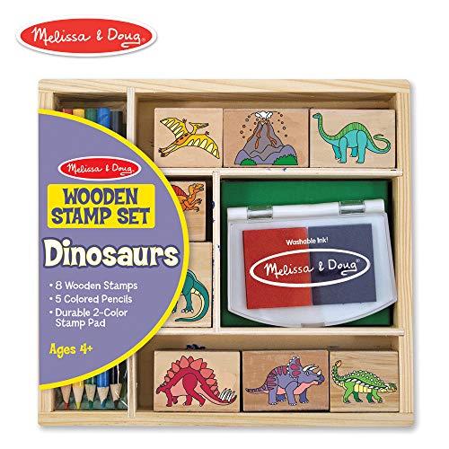 Melissa amp Doug Wooden Stamp Set  Dinosaurs Arts amp Crafts Sturdy Wooden Storage Box Washable Ink 14 Pieces