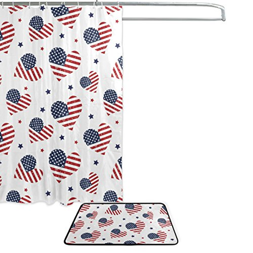 (American Flag July 4th Independence Memorial Day Patriotic Hearts Waterproof Polyester Fabric Shower Curtain (60