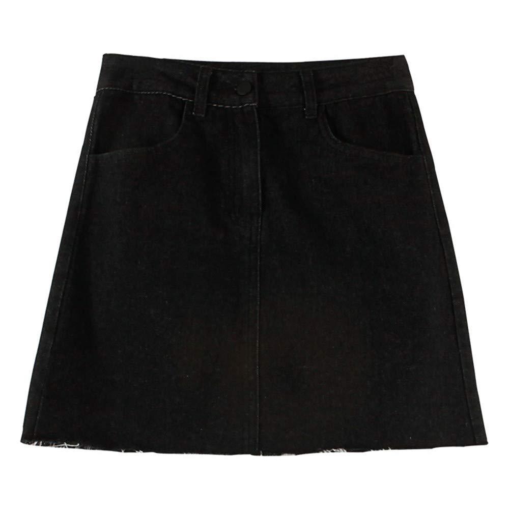 Black F1rst Rate Jean Skirt Women's High Waisted Slim Fit Elastic Bodycon Mini Denim Skirt